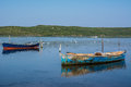 Two fishing boats in the water Royalty Free Stock Photo