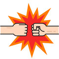 Two fists bumping together vector, hands in air punching Royalty Free Stock Photo