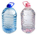 Two five liter bottles of water pink and blue Stock Photo