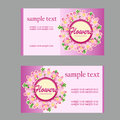 Two floral style cards with lilac in pink vector Royalty Free Stock Photo