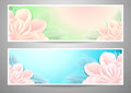 Two flowers banners green marine background advertising something Royalty Free Stock Image