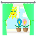 Two flowers on the windowsill vector illustration of Stock Photo