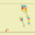 Two flying kites abstract vector illustration Stock Image