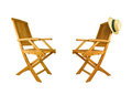 Two folding teak wood deck chair Royalty Free Stock Photos
