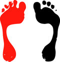 Two foot prints illustration Stock Photography