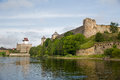Two fortress ivangorod russia and narva estonia ancient on the opposite banks of the river Stock Photo