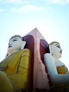 Two of four seated buddha in kyaikpun pagoda the four pago m myanmar blue sky Stock Photography