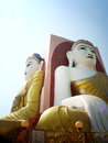 Two of four seated buddha in kyaikpun pagoda the four pago m myanmar blue sky Stock Images