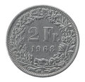 Two francs coin closeup isolated on white background Royalty Free Stock Images