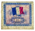 Two Francs issued in France 1944 series vintage bill Back Royalty Free Stock Photo