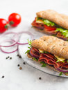 Two fresh sandwiches with jamon Royalty Free Stock Photo