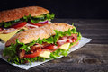 Two fresh submarine sandwiches Royalty Free Stock Photo