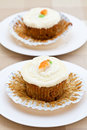 Two freshly baked carrot cakes Royalty Free Stock Photo