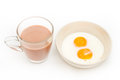 Two fried eggs in a bowl for breakfast Stock Photography