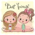 Two Cute cartoon girls