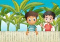 Two friends near the wooden fence illustration of Royalty Free Stock Photography