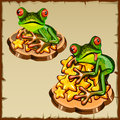 Two frog on a pile of golden stars, FengShui Royalty Free Stock Photo