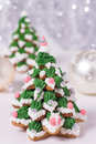 Two frosted gingerbread cookies stacked as christmas trees Royalty Free Stock Photos
