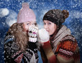 Two frozen beauty girls Royalty Free Stock Photo