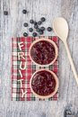 Two fruit tarts with blueberries on a wooden background Royalty Free Stock Photo