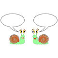 Two funny cartoon snails with talk bubbles vector art illustration on a white background Stock Photography