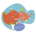 Two funny fishes and text frame Stock Photo