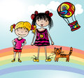 Two funny girls on rainbow vector graphic image with little staying Stock Photos