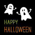 Two funny halloween ghosts card vector illustration Stock Images