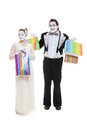 Two funny mimes go shopping Royalty Free Stock Photos