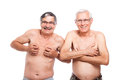 Two funny naked seniors Royalty Free Stock Photo