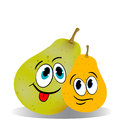 Two funny pears, cartoon on a white background. Royalty Free Stock Photo