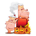 Two funny pigs near the red smoker smiling in chefs hats standing with burning letters bbq Stock Photo