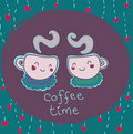 Two funny smiling cups of coffee Royalty Free Stock Images