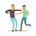 Two furious men characters fighting and quarelling, negative emotions concept vector Illustration Royalty Free Stock Photo