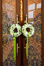 Two garlands hanging wedding door Royalty Free Stock Image