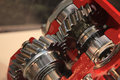 Two gears meshing together Royalty Free Stock Photo