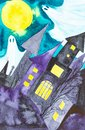 Two ghosts fly the night over the castle on Halloween. Watercolor illustration Royalty Free Stock Photo