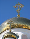 Two gilded dome orthodox church Stock Photography