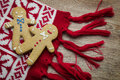 Two gingerbread men on the scarf background Stock Photos