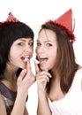 Two girl  on birthday eat chocolate cake. Royalty Free Stock Photo