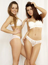 Two  girl friends - blond and brunette in white lingerie Royalty Free Stock Photo