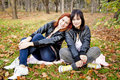 Two girlfriends at the autumn park. Stock Photography