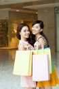Two girlfriends shopping bags shop Stock Photography