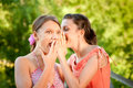 Two girlfriends on summer vacations Royalty Free Stock Photos