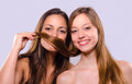 Two girls with beautiful hair Royalty Free Stock Photo
