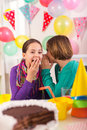 Two girls on birthday party Royalty Free Stock Photo