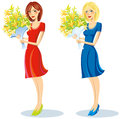 Two girls the brunette and the blonde with a bunch of flowers Stock Photo