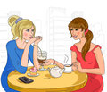 Two girls in the cafe vector illustration Stock Photo