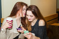 Two girls gossiping in a cafe bar Royalty Free Stock Photo