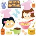 Two girls having fun baking Royalty Free Stock Photo
